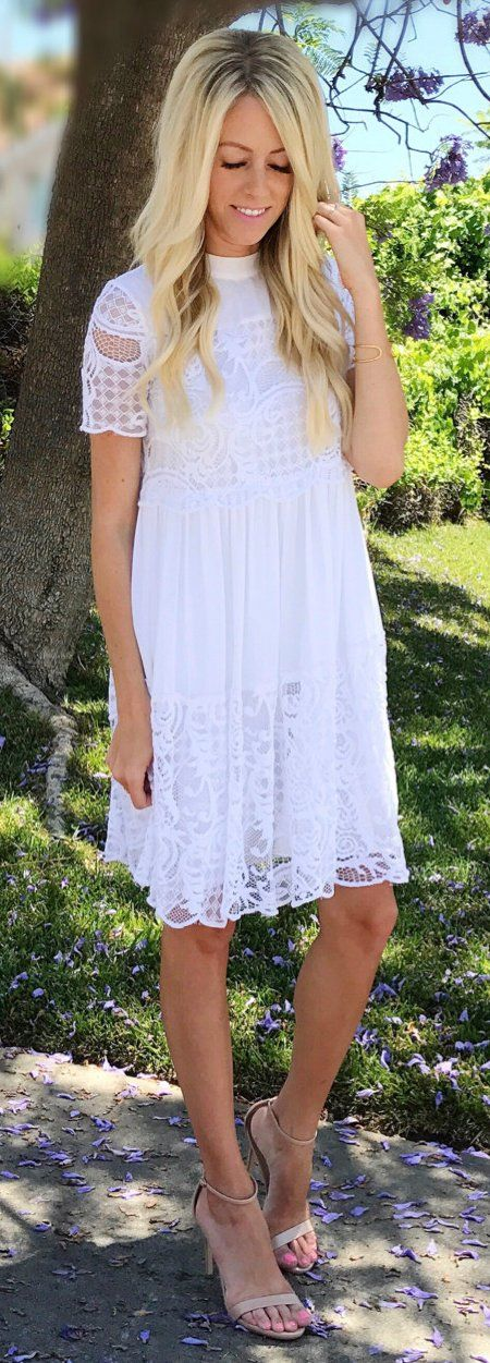 #summer #outfits ☀️day Best. White Lace Dress + Nude Sandals