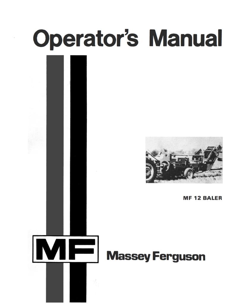 Massey Ferguson MF 12 Baler - Operator's Manual