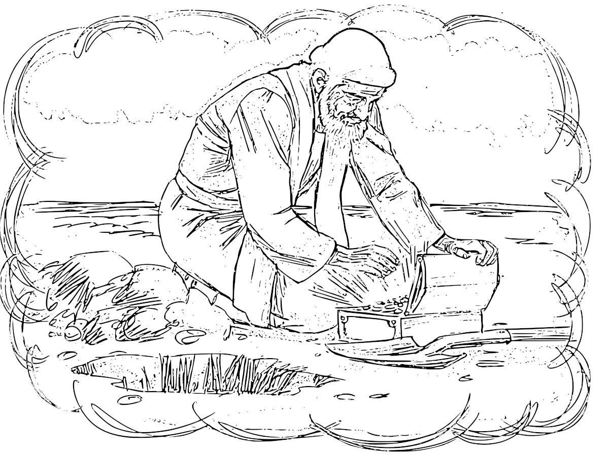 Parables of the Pearl and Hidden Treasure Coloring Pages  Bible