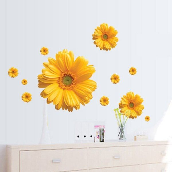 Fashion Daisy Pattern Wall Sticker For Bedroom Livingroom Decoration ...