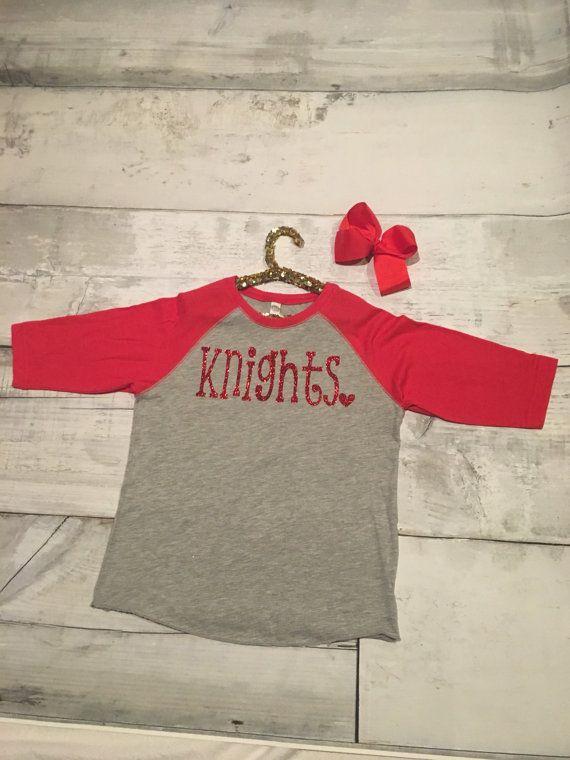 3a65167bb Knights Baseball Shirt Kings Girl Gray Kings Spirit Apparel by  SimplyGigiBoutique Etsy Custom Made Team Apparel Youth