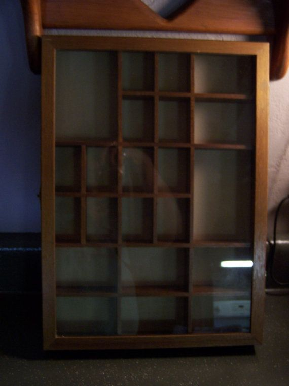 Vintage Shadow Box Shelf W Gl Front Display Case Knick Knacks Cabinet