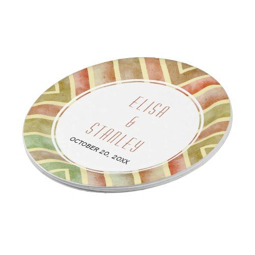 Modern watercolor geometric fall border wedding paper plate  sc 1 st  Pinterest : wedding paper plates and napkins - pezcame.com