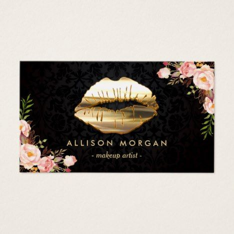 New version gold lips makeup artist floral business card new version gold lips makeup artist floral business card businesscards zazzle business cards pinterest reheart Image collections