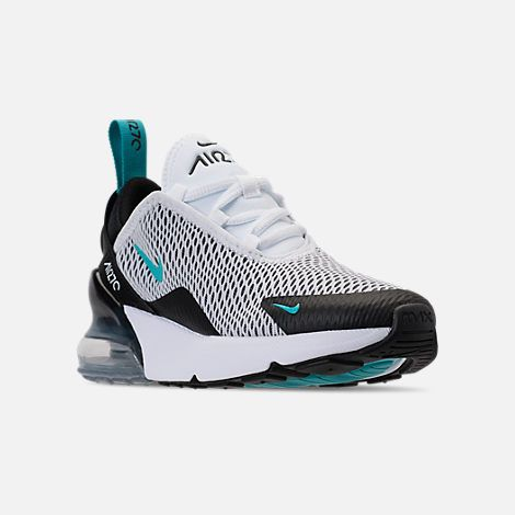 49131879507 Three Quarter view of Kids  Preschool Nike Air Max 270 Casual Shoes in White  Dusty Cactus Black