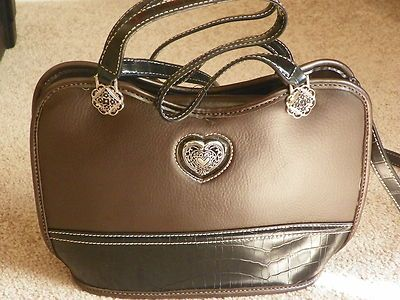 Women's Designer Handbag / Purse  Brown  New with Tags    Gorgeous brown designer-like handbag.  Nice little silver heart appointment. One outside pocket, several inside pockets. Clutch straps and a shoulder strap.