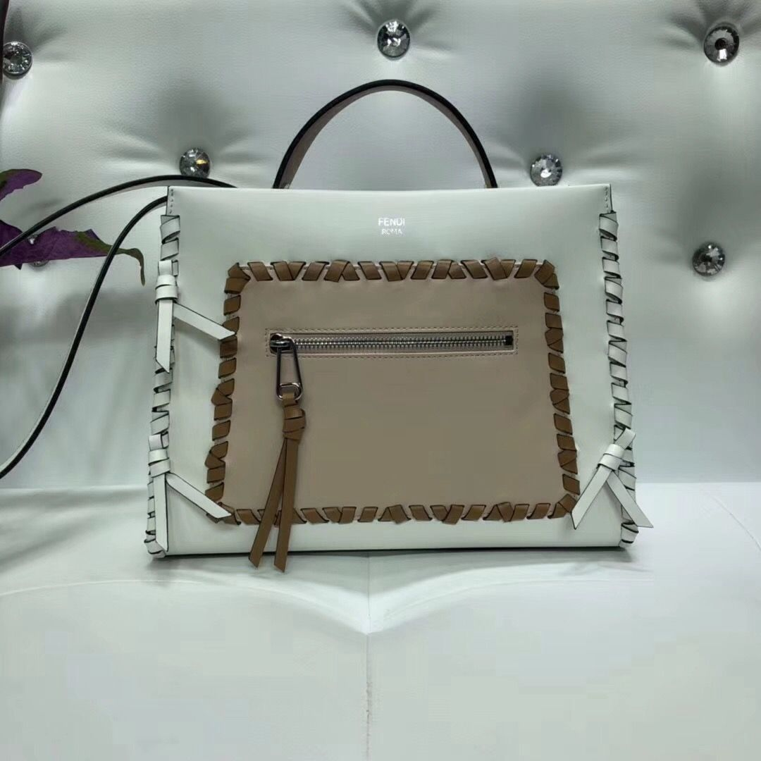 3d08e992059a Fendi Calfskin Runway Small Bag with Leather Threading and Bows White Beige  2018