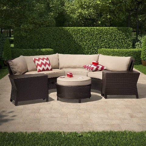 Best Threshold™ Harrison 7 Piece Wicker Sectional Patio Seating 640 x 480