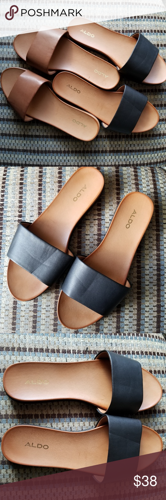 7eeae1a3f81 Aldo Fabrizzia Slide Sandals black and cognac TWO PAIRS of Aldo Fabrizzia  slide sandals - one