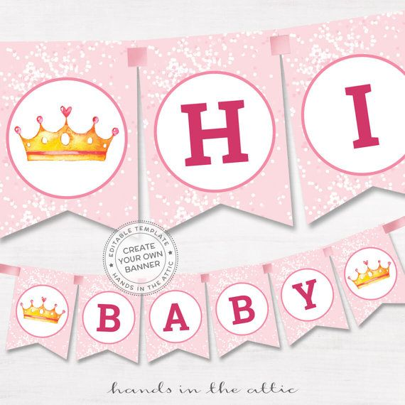 DIY Banner Pink Baby Shower Template Editable Name Garland Baby - Name banner template