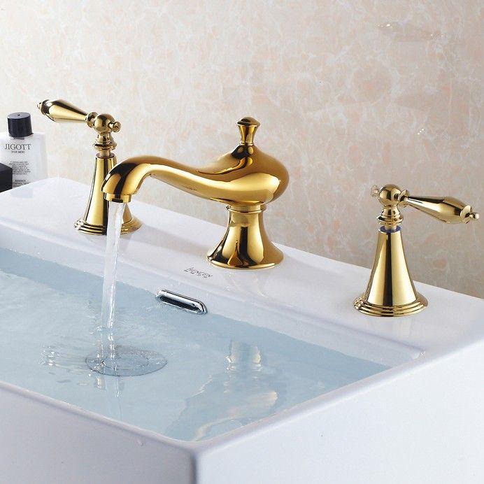 Revice Luxury Gold Bathroom Widespread Sink Faucet   MOROCCAN ...