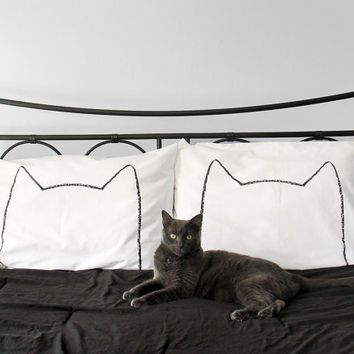 Cat Nap Pillow case Set : 200TC, home decor, bedding