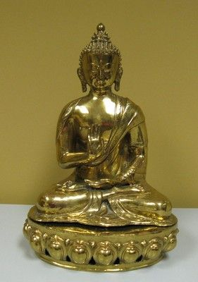 Antique Chinese Brass Bronze Buddha 15 inches Tall Sculpture . For sale at Eastern Shore Antiques. 1410 US Hwy 98  Suite A Daphne, Al 36526