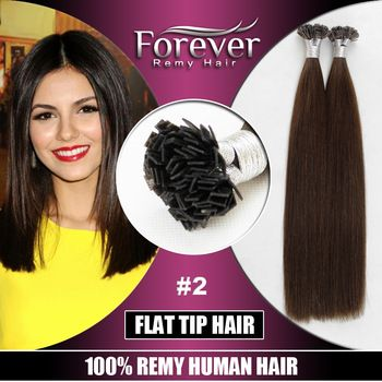 Henan Forever hair factory 10a grade 20 inch virgin malaysian flat tip hair extensions remy
