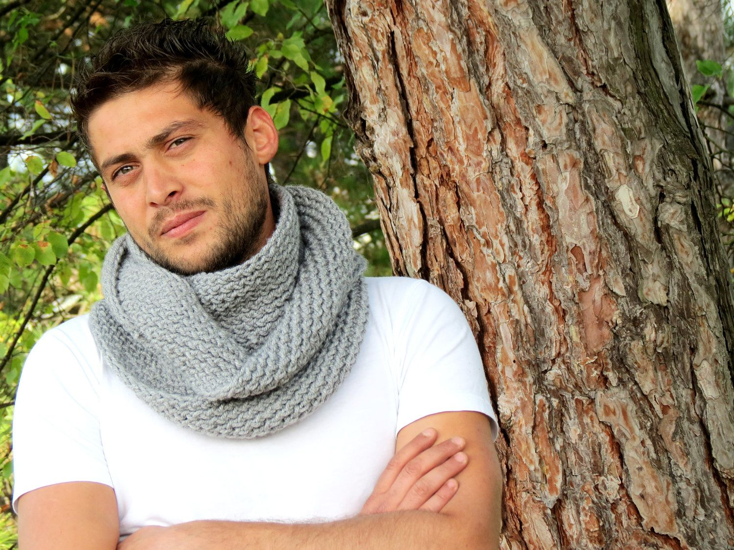 Knitting Loop Scarf : Hand knit infinity men scarf block loop