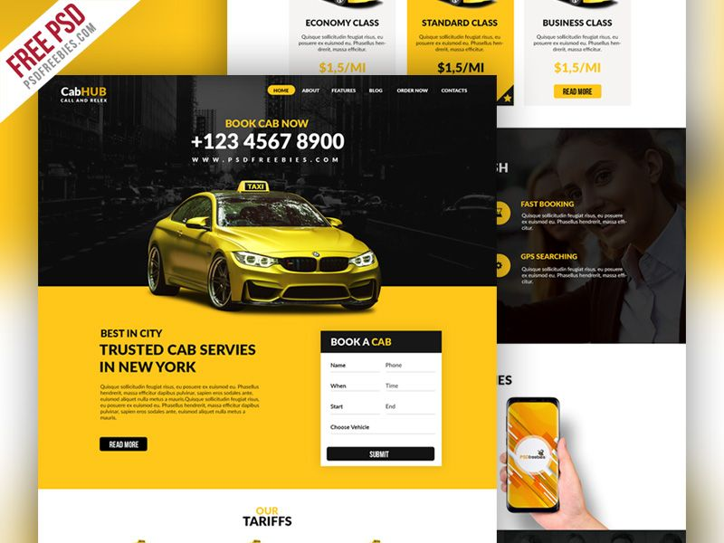 Taxi Cab Service Company Website Template Psd Web Design
