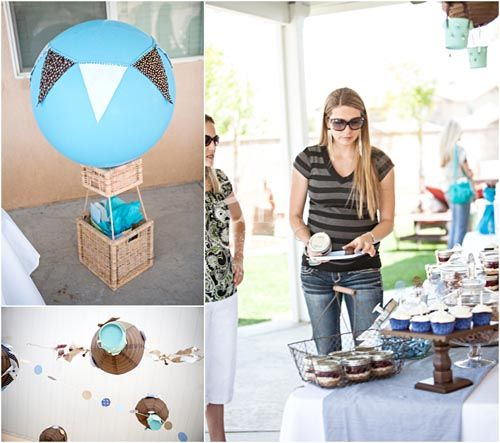 Hot Air Balloon Themed Up And Away Blue And Brown Baby Shower