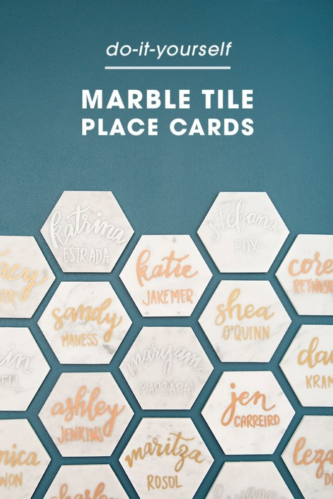 These diy hexagon marble tile place cards are a must see place beautiful and easy diy marble tile place cards solutioingenieria Images