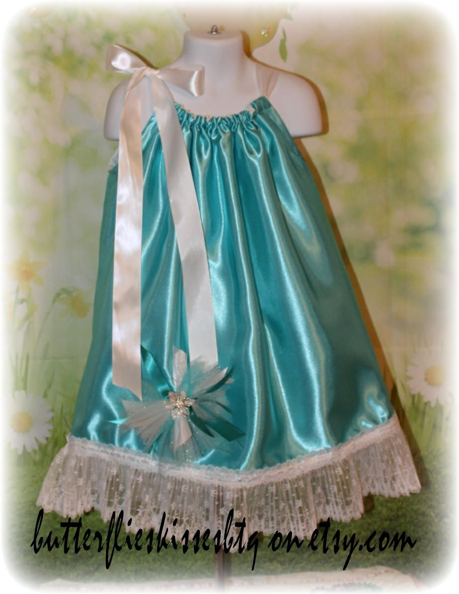 Handmade pillowcase dress size 4-5T aqua blue wth bow ready to ship ...