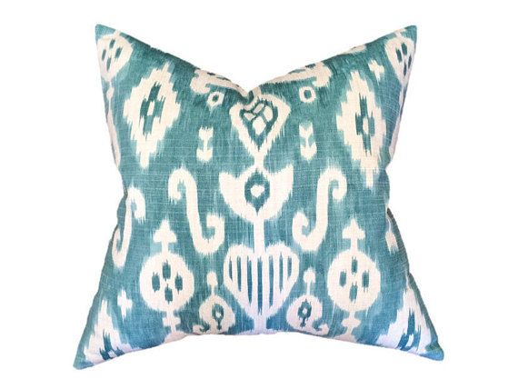 Front Fabric Turquoise Blue and Cream Ikat Back Fabric Natural