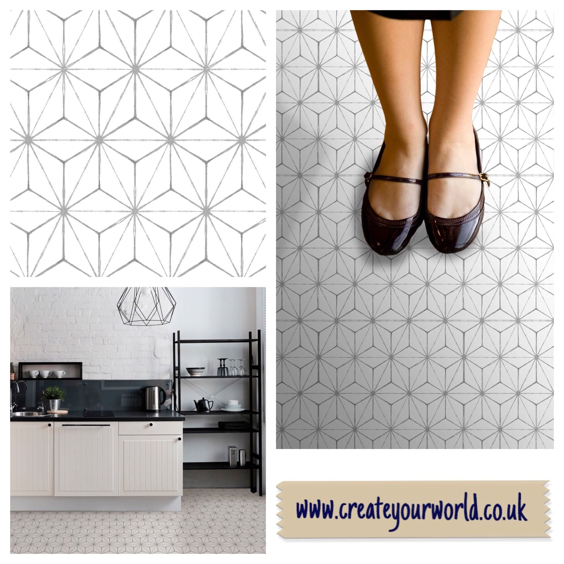 30 48m X Geometric Kikko Grey White Premium Self Adhesive Vinyl Floor Tiles Fp2481 Flooring Tile