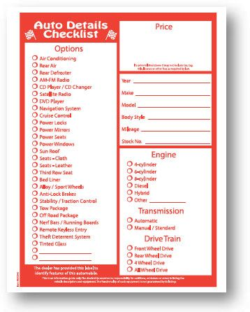 Peel N Seal Stock Laser Window Sticker  Red Checklist Packaged