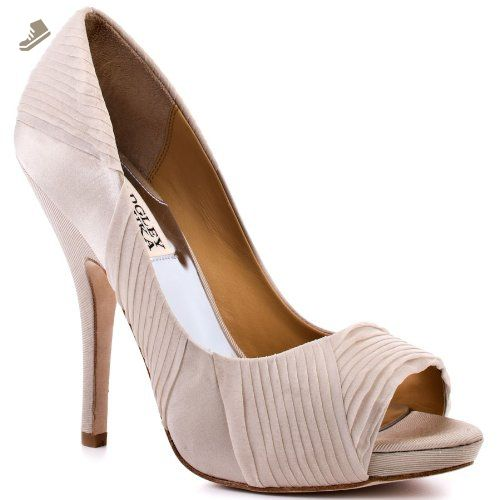 Badgley Mischka Women's Wayde Open-Toe Pump, Taupe Satin, 5.5 M US - Badgley mischka pumps for women (*Amazon Partner-Link)