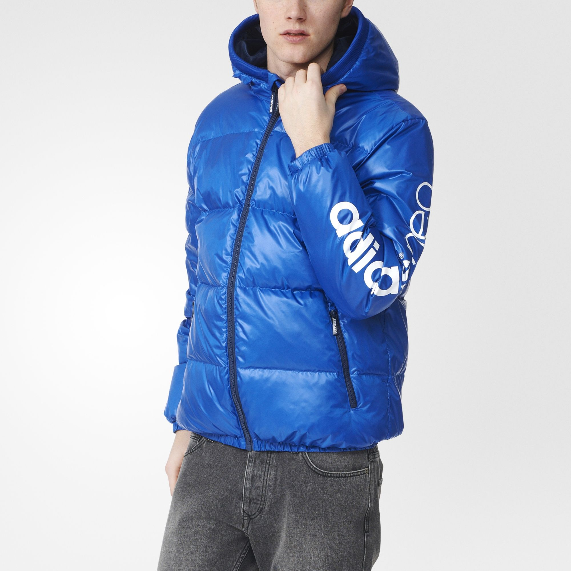 Winter with adidas neo style. This guys' down jacket has a