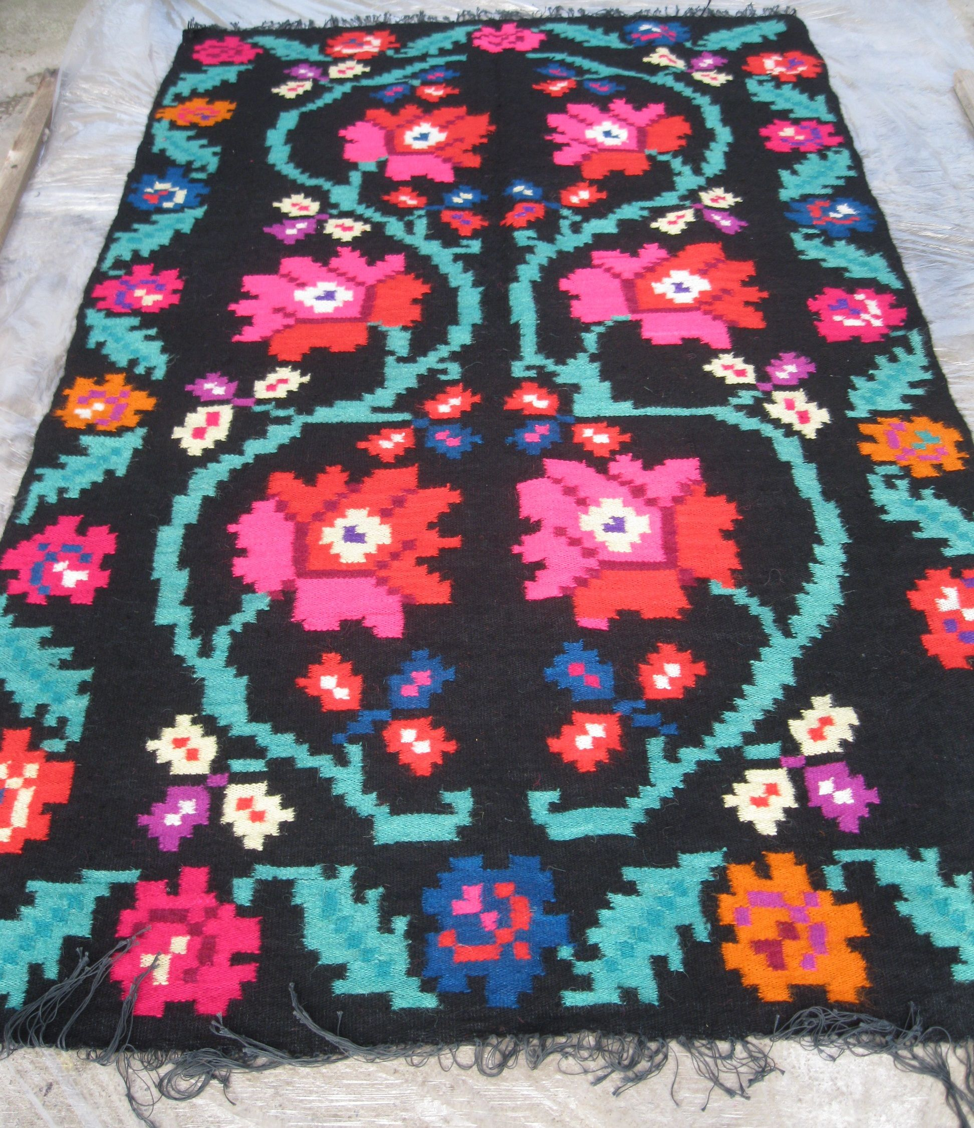 Antique Romanian Flat Weave Wool Rug Carpet From Transylvania Ww
