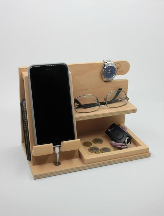 Docking station, wooden docking station, birthday gift for men, unique holiday gift, anniversary gift, gifts for men husband dad groomsmen