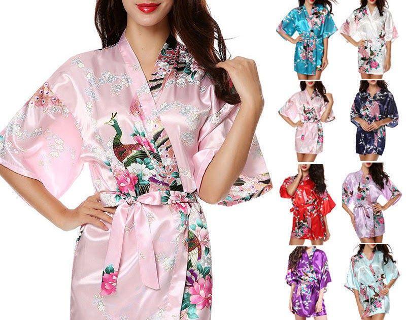 b253d18eaae1 Women Plain Silk Satin Robes Bridal Wedding Bridesmaid Bride Gown Kimono  Robe US Women s Clothing Intimates   Sleep