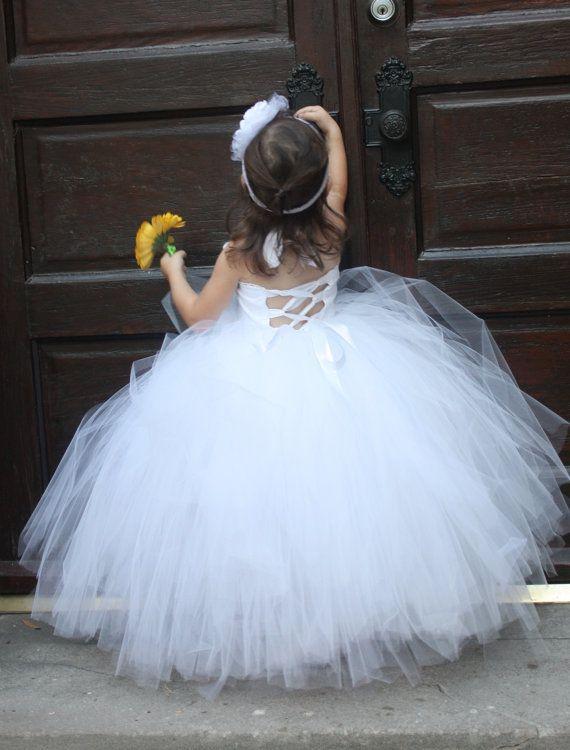 White Flower Girl Tutu Dress.    Wedding by Sassylittletutus