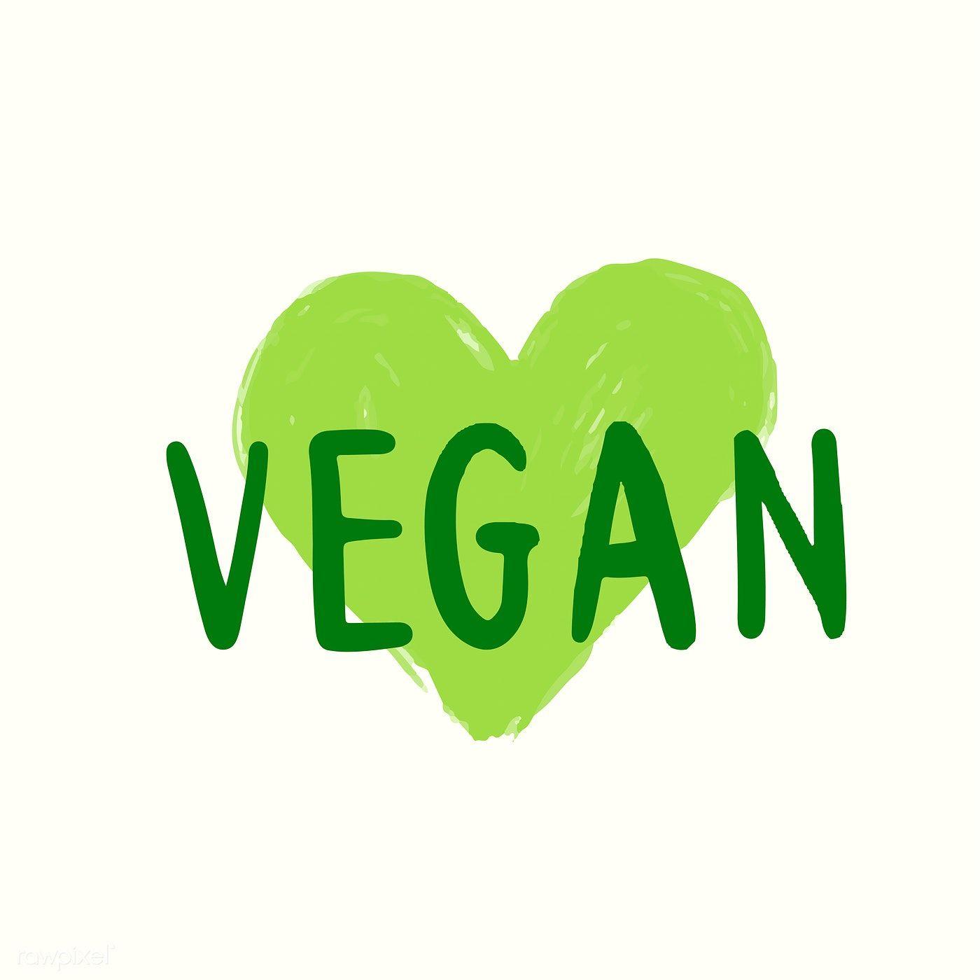 Vegan typography vector in green free image by rawpixel