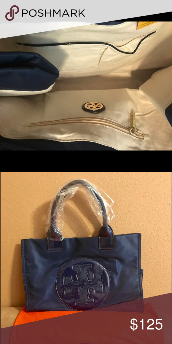 b2e08995368 Tory Bruch Navy Nylon Tote Bag Light and convenient to carry. Very  versatile. It