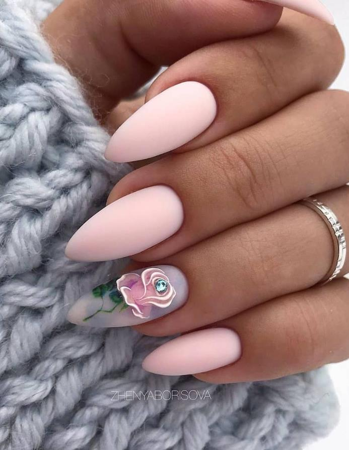 24 Beautiful Matte Short Almond Nails Design For Spring Nails In 2020 Almond Nails Designs Short Almond Nails Nail Designs Spring