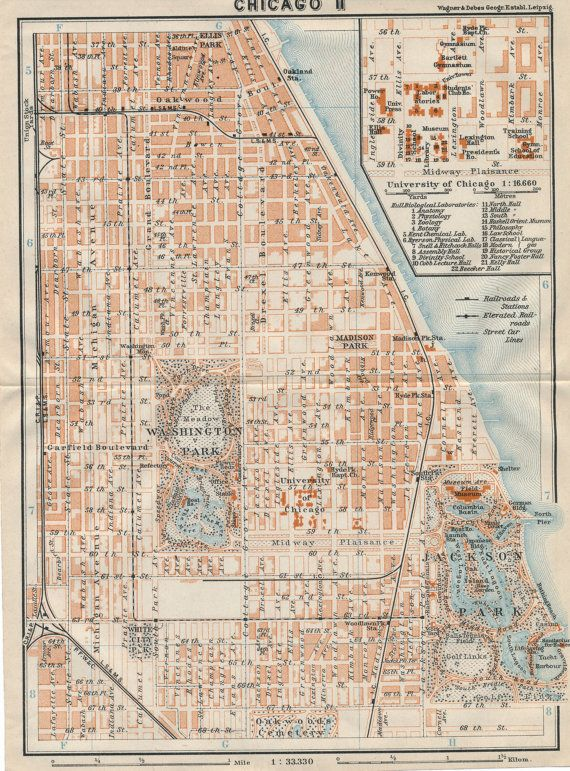City Colleges Of Chicago Map.1909 Antique Map Of Chicago Illinois With University Of Chicago