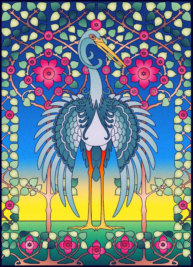 - Sarah Hardin (18+ Division) From Creative Haven Art Nouveau Animal Designs  Coloring Book Designs Coloring Books, Art, Animal Design