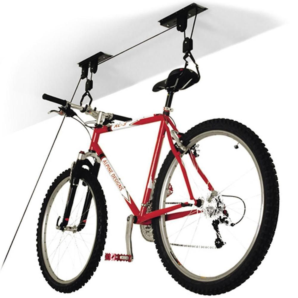 Bicycle Storage Pulley Hoist Strong Basement Garage Cycle Rack