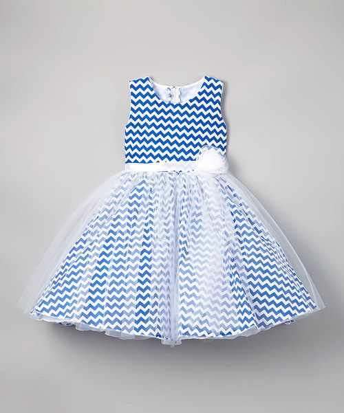 Look at this Navy Chevron Organza Fit & Flare Dress - Infant, Toddler & Girls on #zulily today!