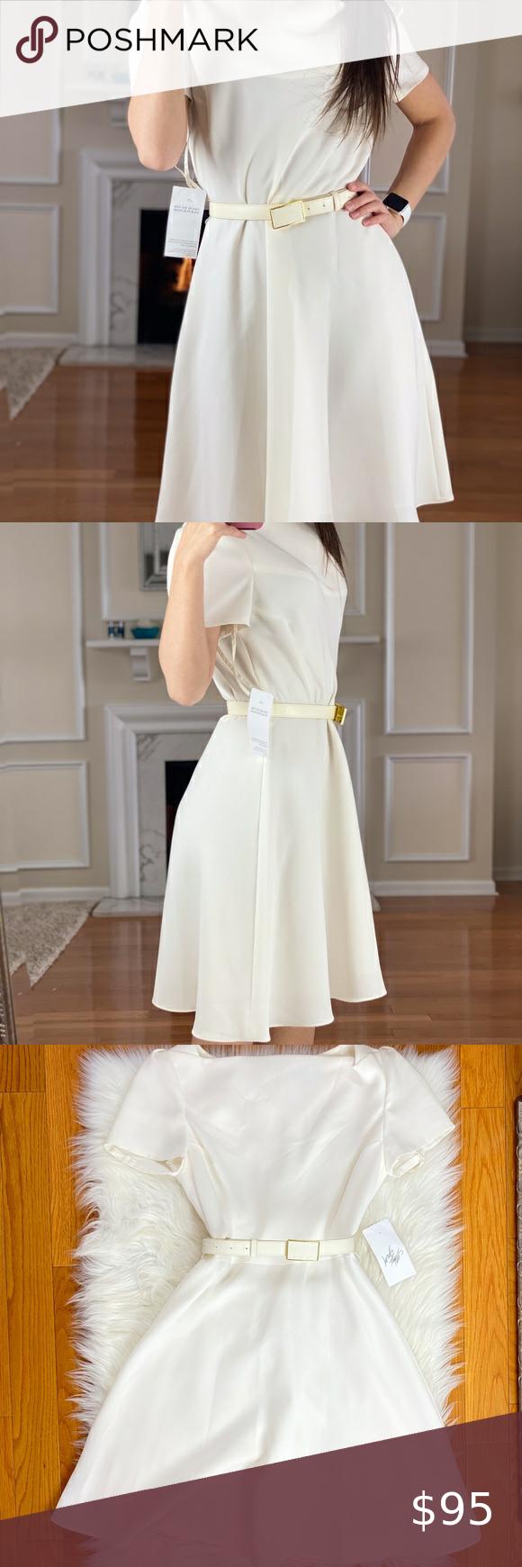 Nwt Tahari Asl Cream Fit Flare Dress 6p Fit Flare Dress Flare Dress Dresses [ 1740 x 580 Pixel ]