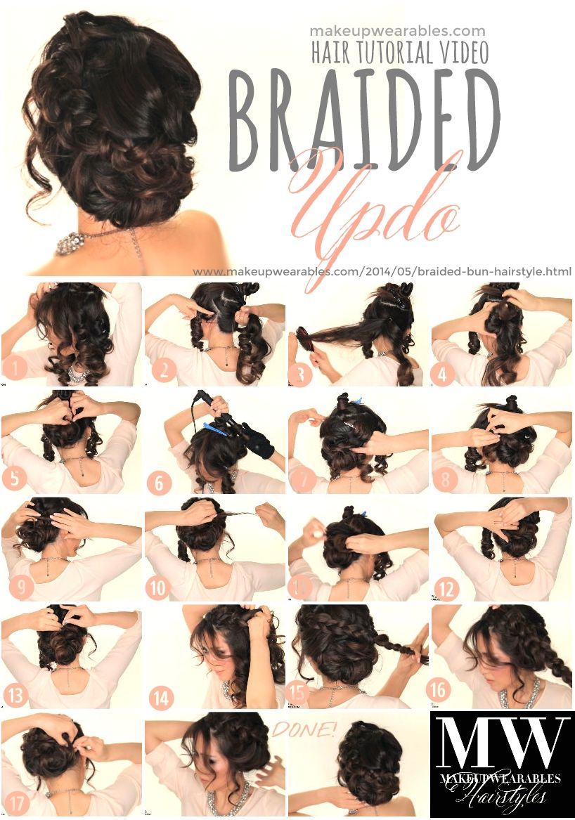 Voluminous braided updo hair tutorial prom hairstyles