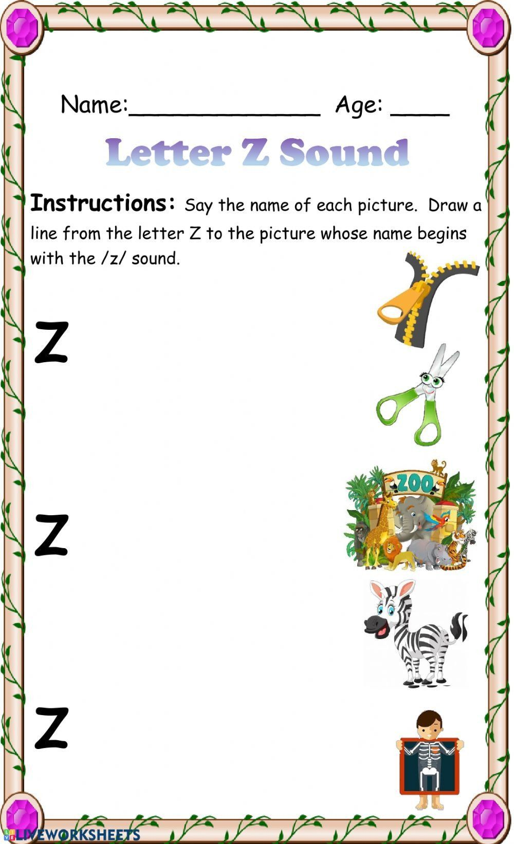 Letter sound Recognition Worksheets Letter Z sound
