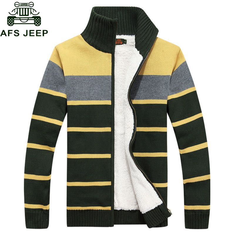 AFS JEEP 2016 Striped Christmas Sweater Cardigan Men Cotton Stand Collar Long Sleeves Regular Cheap-clothes-china Mens Overcoat