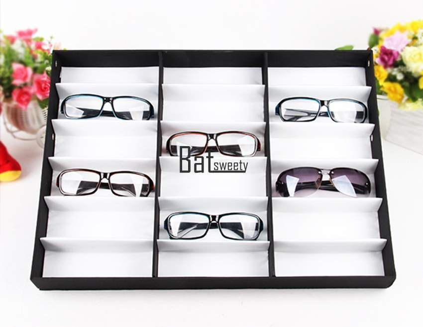 223b0b5428ba3 Eyeglass Sunglasses Glasses Storage Display Grid Stand Case Box Holder 18  Slot…