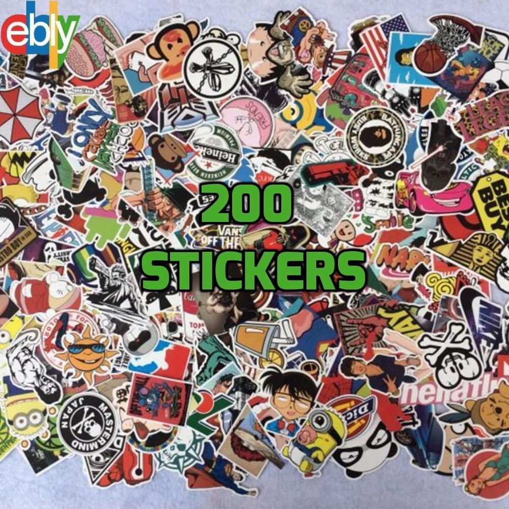 200 skateboard stickers bomb vinyl laptop luggage decals dope sticker lot cool unbranded