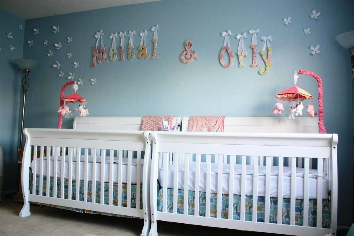 Baby Nursery:How To Make Pink Not To Be A Boring Color For Baby Cribs For  Girls Nice Looking Nursery Room Design With Blue Wall Color And Twin White  Nursery ...