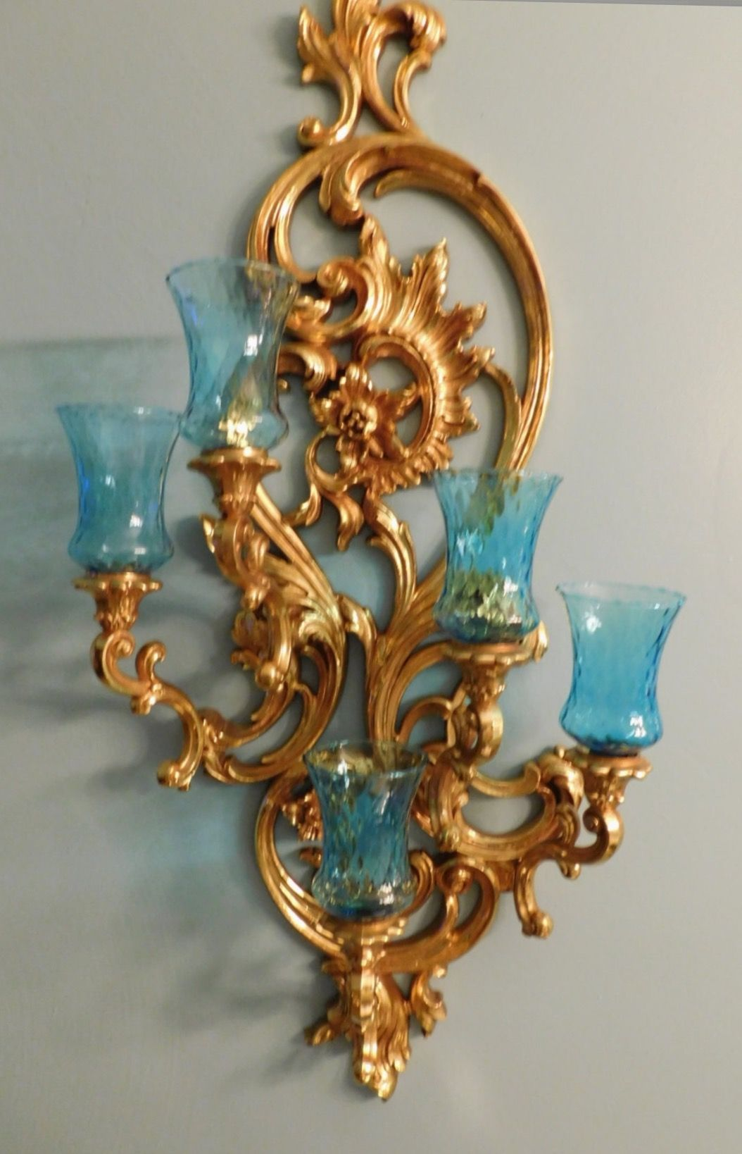 Syroco Dart Homco Home Interiors Gold Candelabra Sconce With Blue Turquoise Glass Votive Holders Gold Walls Home Interiors And Gifts Gold Wall Sconce