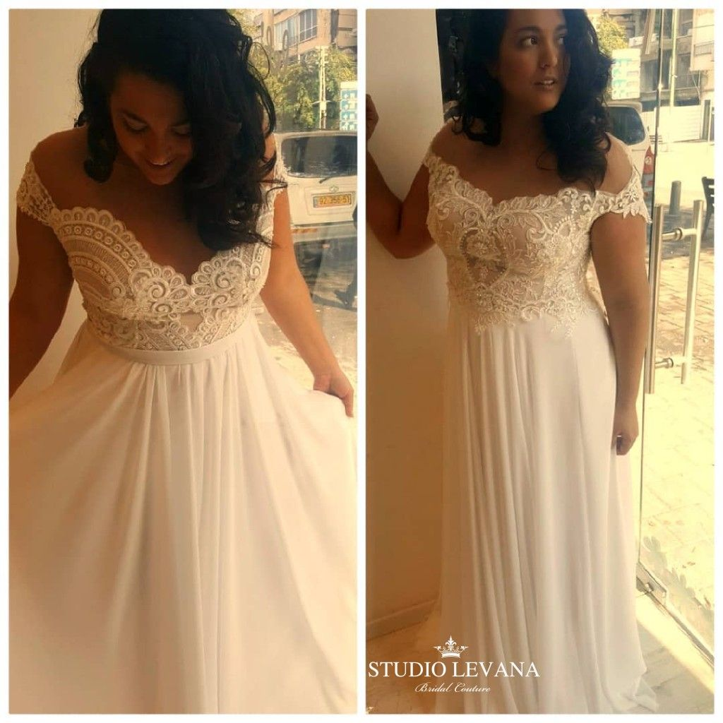 Plus wedding gowns with off shoulder sleeves and chiffon skirts