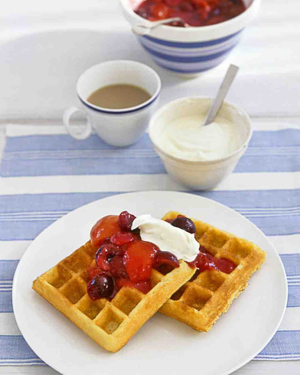 Cornmeal Waffles with Apricot-Cherry Compote