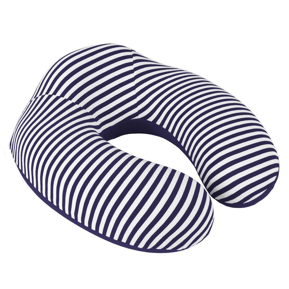 Lavish Home Navy Stripe Memory Foam Extra Support Neck Travel